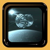 stock photo of spaceships  - Retro TV display with first spaceship at the Earth orbit - JPG