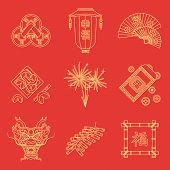 pic of coins  - vector gold yellow outline on red traditional chinese new year icons set feng shui coins lantern fans dragon mask fireworks firecrackers bamboo frame fortune cookies red envelope coins - JPG