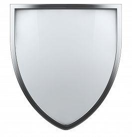 stock photo of shield  - Blank white shield isolated icon symbol with metal frame - JPG