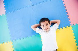 foto of playground school  - Happy kid playing in playground - JPG