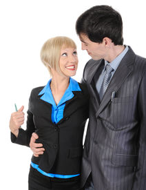 image of office romance  - woman in the arms of the man she loved - JPG