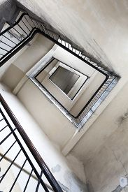 foto of tenement  - Ruined staircase in an old tenement house - JPG