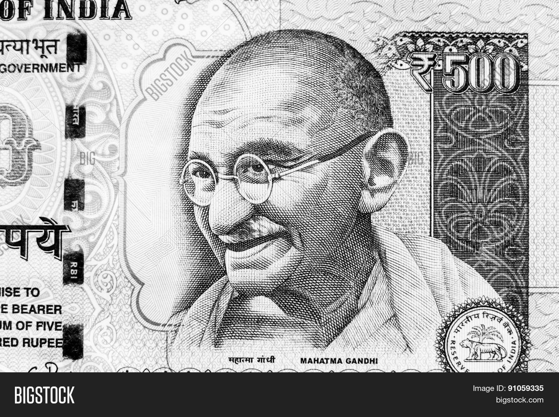 Monochrome image of Mahatma Gandhi on a 500 rupee note Stock