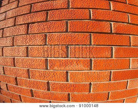 New Wall Of Decorative Red Bricks Close Up