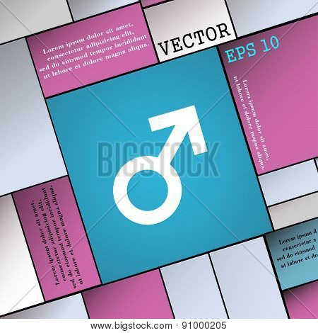 Male Sex  Icon Sign. Modern Flat Style For Your Design. Vector