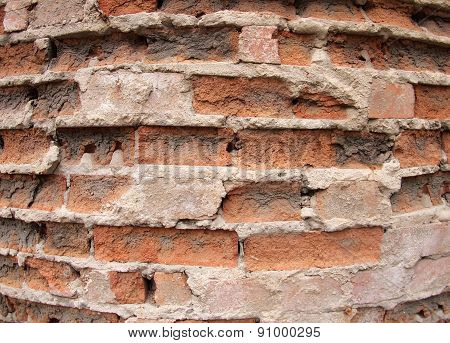 Closeup Of The Old Wall Of The Destroyed Bricks