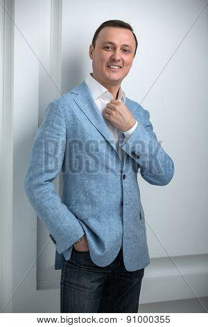 Handsome man in a blue jacket