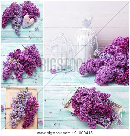 Collage With Lilac Flowers On Wooden Background