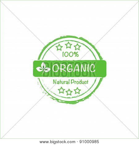 100% organic vector stamp