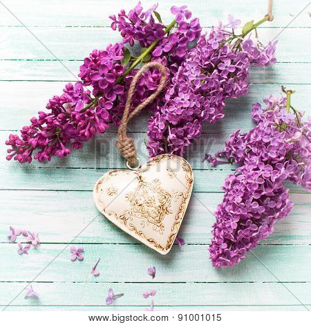 Background With  Lilac Flowers And Decorative Heart