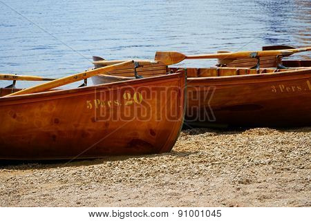 Wooden Rowing Boats On The Shore