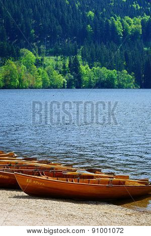 Rowboats On The Banks Of Lake Titisee