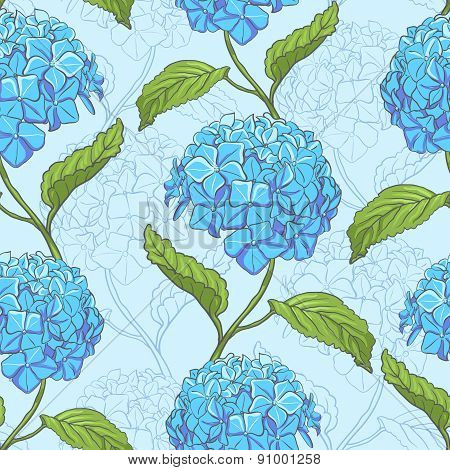 Seamless pattern with hydrangea