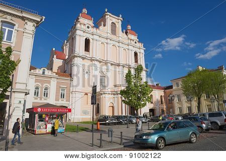 Exterior of the St. Casimir church in Vilnius, Lithuania.