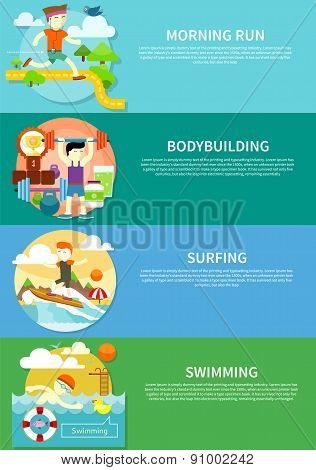 Surfing, Swimming, Run and Bodybuilding