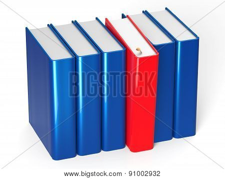 Blank Books Row Blue One Selected Red Choosing Leadership