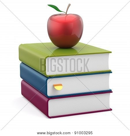 Red Apple Colorful Books Textbooks Studying Reading Icon