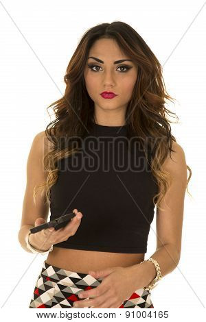 Woman In Black Crop Top Hold Phone Look Serious