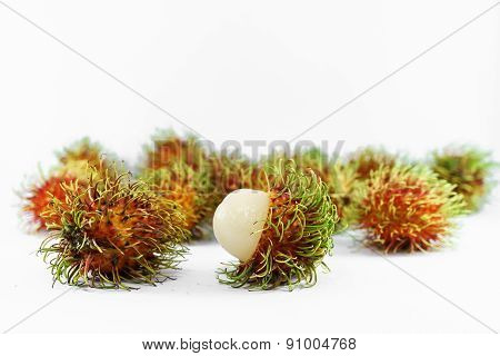 Peeled Rambutan On White Background