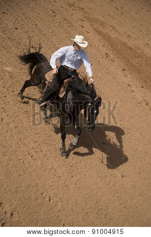 Cowboy On A Running Black Horse Top View