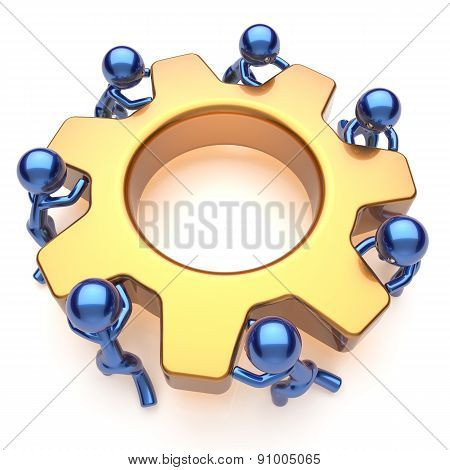 Partnership Team Work Business Process Men Workers Gear