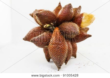 Fresh Salacca On White Background, Salak Fruit