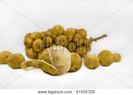 Fresh Peeled Longkong And Bunch Of Longkong, Lansium Fruit