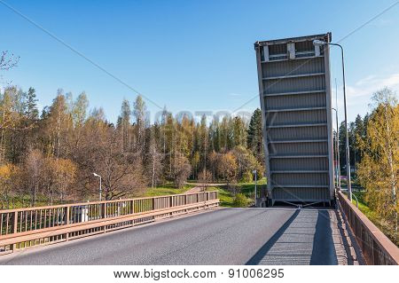 Open Drawbridge Over Tsvetochnoye Lock
