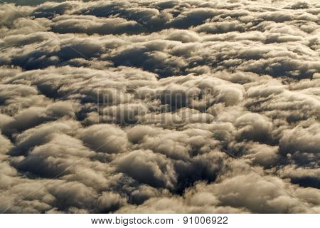 Look At The Clouds From The Airplane. Above The Clouds.