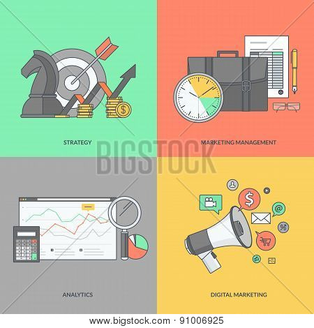 Set of color line icons on the theme of business and marketing