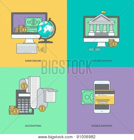 Set of color line icons on the theme of internet banking, online payment