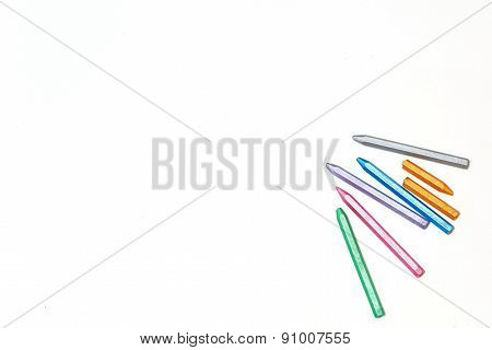 Pastel Crayons On A Sheet Of Paper