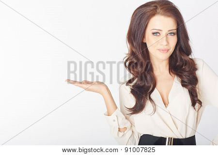 Young businesswoman presenting something