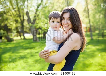 A mother and son outdoors