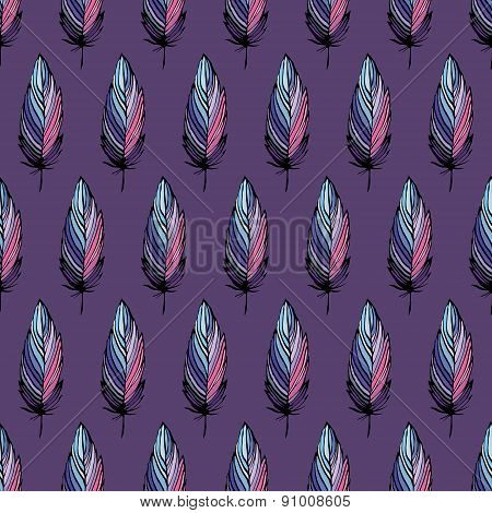 Feather Bird Seamless Pattern