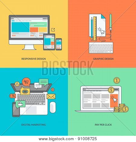 Set of color line icons on the theme of web and graphic design, internet marketing