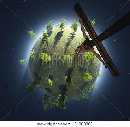 Crucifix on a green planet.