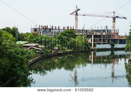 Canal With Buildings Under Construction