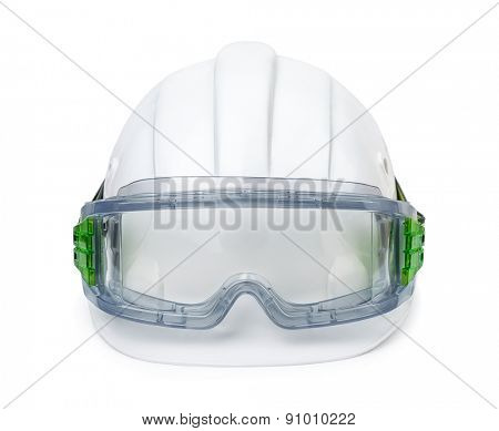 White hard hat and safety goggles isolated on white