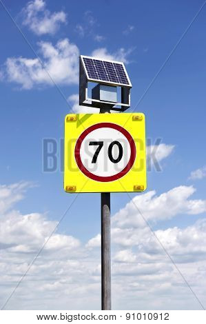 Road Sign With Lighting And Solar Powered