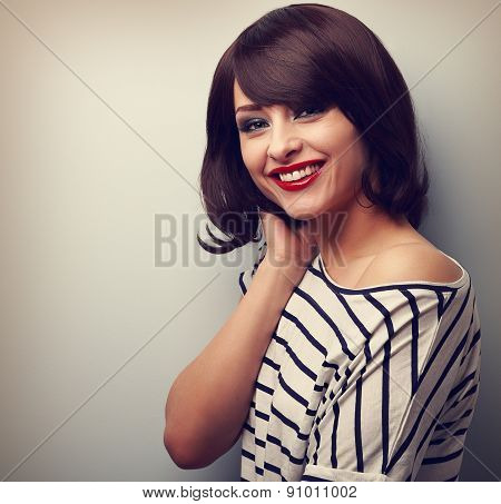 Beautiful Smiling Young Woman With Short Hair Style. Vintage Portrait