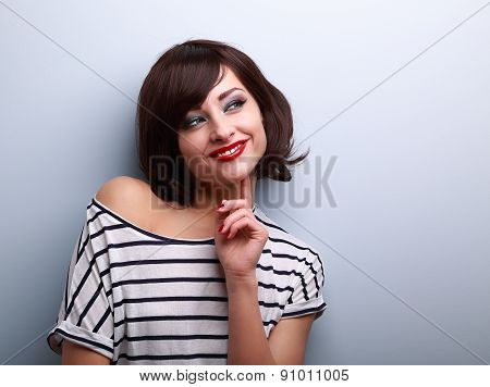 Thinking Happy Young Woman Looking On Copy Space