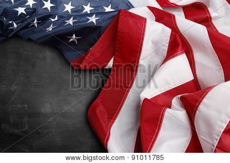 American flag on a blackboard