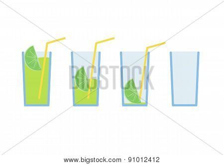 Set of green lemon coctail drink with straw stage from full to empty