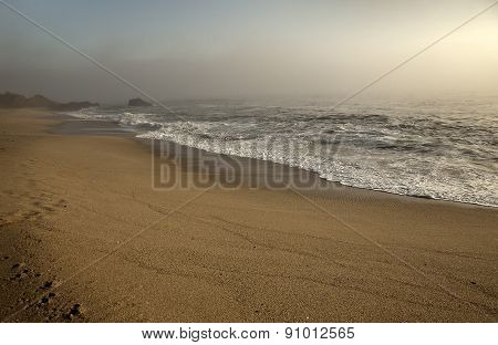 beautiful Ocean water with waves. Sea sand shore