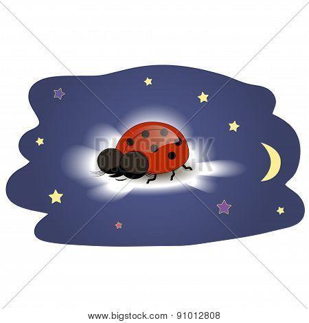 Ladybug sleeping on a cloud