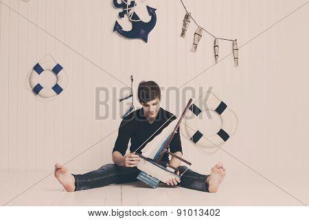 Boy in sea theme