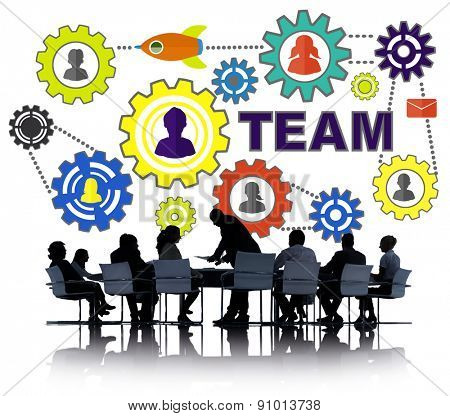 Business People Meeting Connection Gear Corporate Team Concept