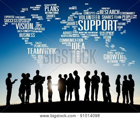 Support Idea Plans Vision Business Growth Global Concept