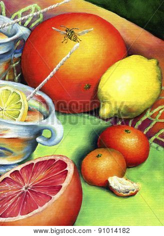 Citrus still-life with bee.